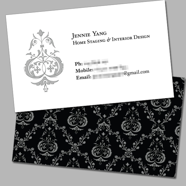 Business card jennie yang home staging interior design for Home staging interior design