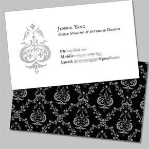 Business Card: Jennie Yang, home staging & interior design